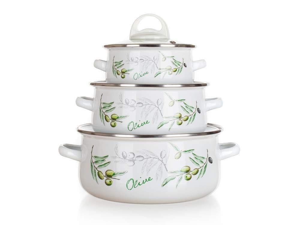 Banquet Sada smaltovaného nádobí OLIVES, 6 ks