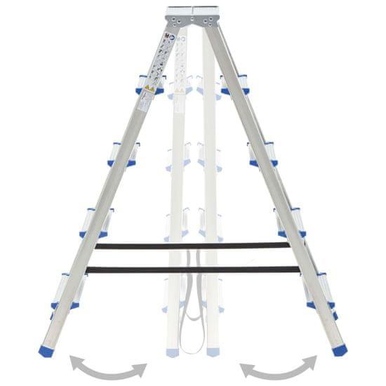 shumee Aluminijasta dvostranska lestev s 5 stopnicami 113 cm