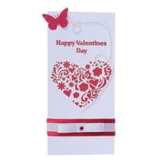 """Kraftika Pohlednice """"happy valentines day"""" ručně, srdce, motýl, euro"""
