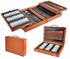 Derrson Velká sada v dřevěném kufříku pro malé malíře 174 ks