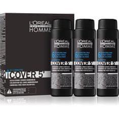 Loreal Professionnel Gelová barva na vlasy pro muže Homme Cover 5 3 x 50 ml (Odstín 3 Dark Brown)