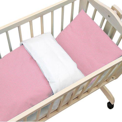 Babyrenka Babyrenka povlečení do kolébky 90x90 cm bílá Dots pink
