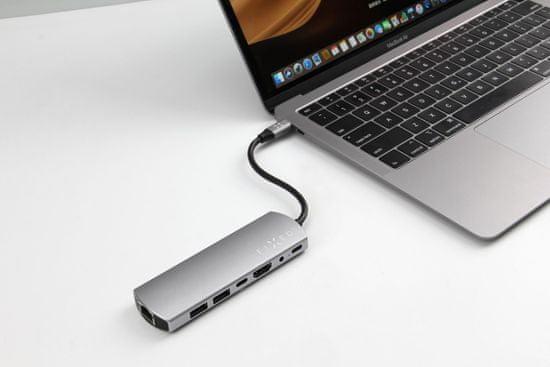 FIXED Hliníkový HUB 7in1 s rozhraním USB-C pre notebooky a tablety FIXHU-7in1