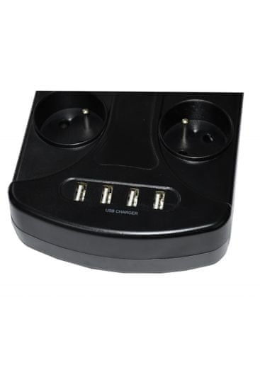 IN Přepěťová ochrana s 8 zásuvkami a 4 USB