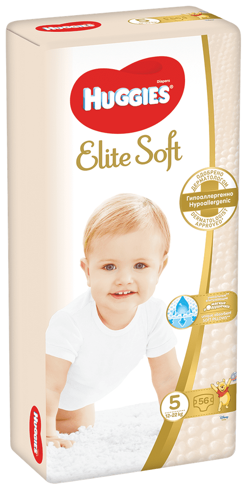 Huggies Elite Soft (12-22 kg) 56 ks
