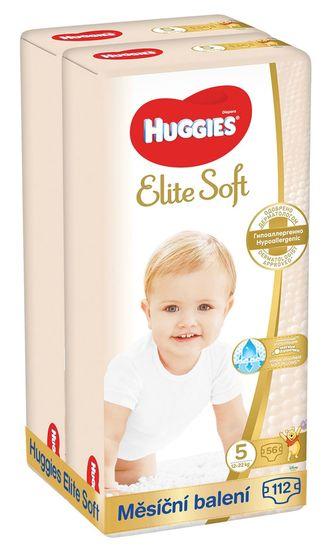 Huggies plenice za enkratno uporabo 2x Elite Soft (12-22 kg), mesečno pakiranje, 112 kosov