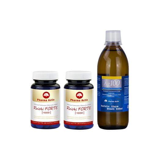 Pharma Activ Reishi FORTE 1000 90 tablet 1+1 + Ag100 10ppm 500 ml
