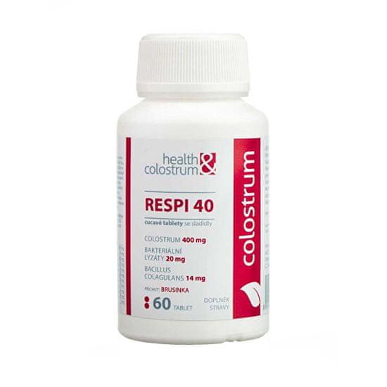Health&colostrum Resp 40 (400 mg) + bakteriálne lyzáty - príchuť brusnica 60 cmúľacích tbl.