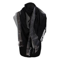 Cashmere Kašmírová šála pruhovaná s ornamentem Indie, černá