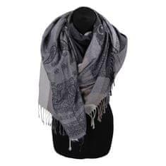 Cashmere Kašmírová šála pruhovaná s ornamentem Indie, šedá