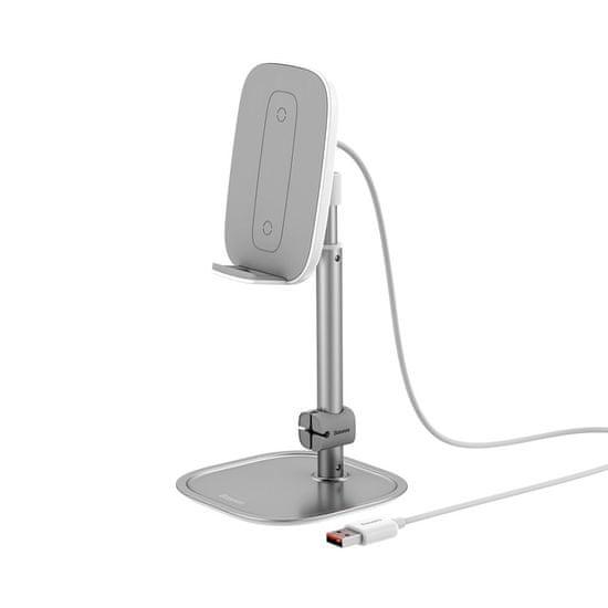 BASEUS Telescopic stojalo za telefon / tablični računalnik z brezžičnim polnjenjem Qi, srebro