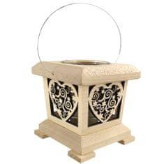 AMADEA Dřevěná lucerna s motivem srdce, masivní dřevo, 9x9x9 cm