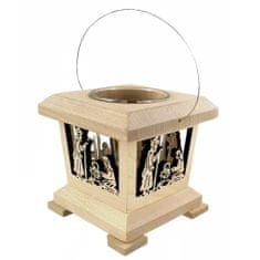 AMADEA Dřevěná lucerna s motivem betléma, masivní dřevo, 9x9x9 cm