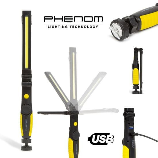 PHENOM USB COB LED akumulatorska delovna svetilka 5W + 3W