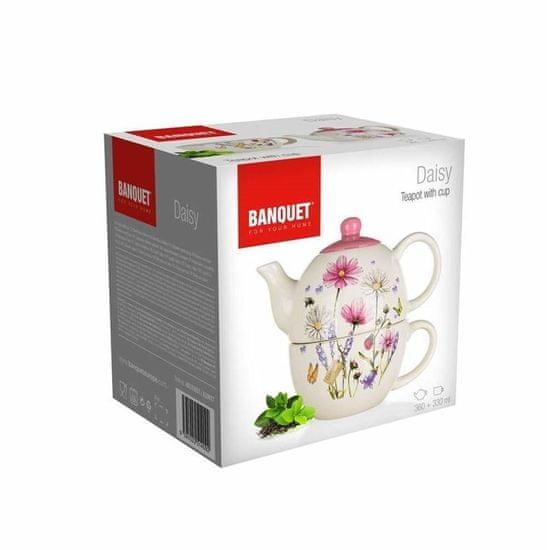 Banquet DAISY kerámia teáskanna csészével
