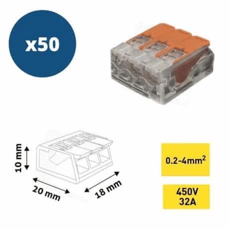 ENTAC 50x hitra sponka 3 pin 450V 32A 0.2-4mm2 trdi in mehki vodnik