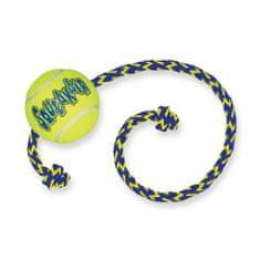 KONG SqueakAir žoga za pse z vrvico, M, rumena