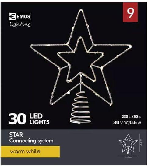 Emos LED povezovalna zvezda, 30 LED, toplo bela