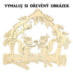 AMADEA Dřevěný obrázek k vymalování veverky 20 cm