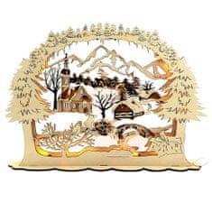 AMADEA Dřevěný svítící portál s motivem vesničky, hnědý, 51 cm