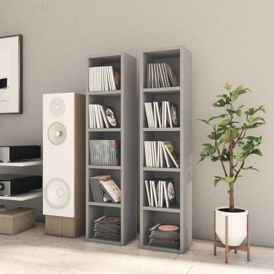 Greatstore Skrinky na CD 2 ks sivá 21x16x93,5 cm drevotrieska