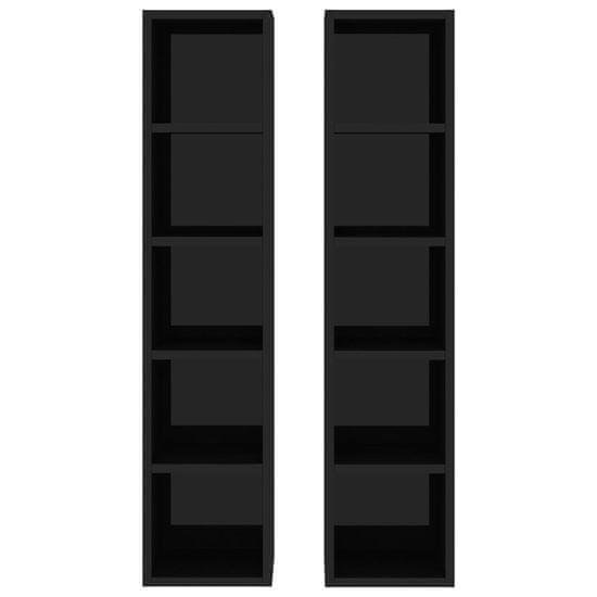 shumee 2 db magasfényű fekete forgácslap CD-szekrény 21 x 16 x 93,5 cm