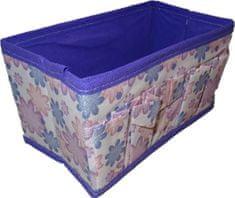 Fialový úložný box s kytičkami.