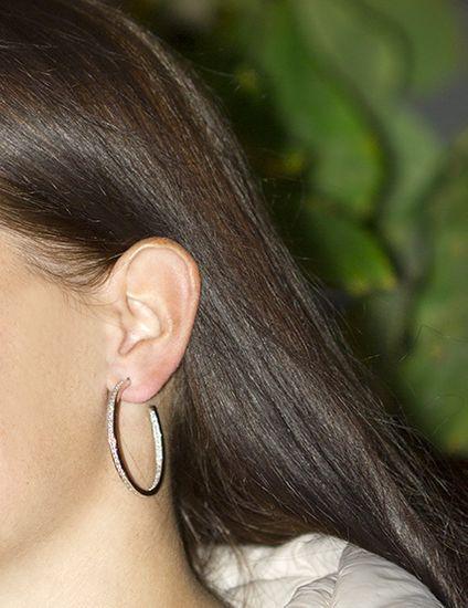 Beneto Ezüst karika fülbevaló kristályokkal AGUP1181