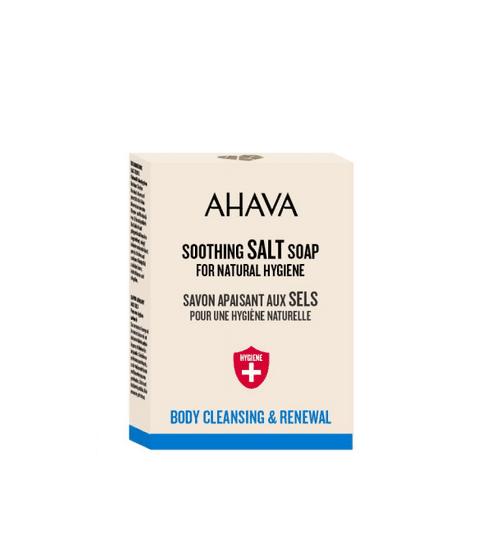 AHAVA Upokojujúce hydratačné mydlo so Soľou z Mŕtveho mora zo špeciálnej edície Hygiene na čistenie pokožky, obnovenie prirodzeného pH, psoriázu, dermatitidu, ekzém a mastnú pleť 100gr