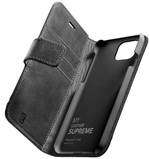CellularLine Prémium bőr tok Supreme Apple iPhone 12 Pro Max, fekete SUPREMECIPH12PRMK