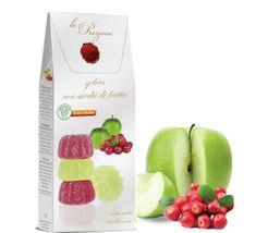 Le Preziose  Želatinové bonbóny s ovocnou šťávou ze zelených jablek a brusinek, 200g