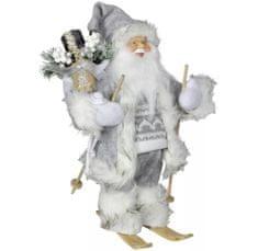Dům Vánoc Santa v šedém kabátku na lyžích 30 cm