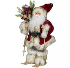 Dům Vánoc Santa v červeném kabátku na lyžích 30 cm