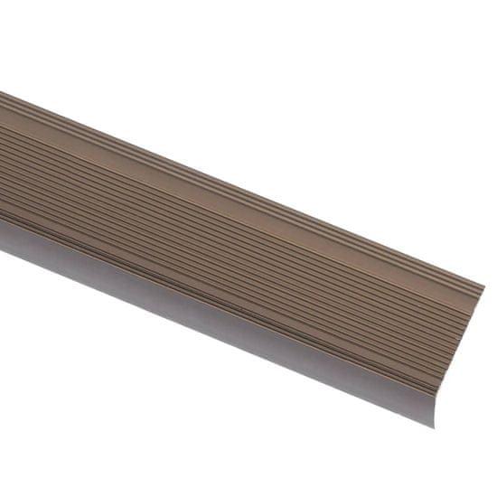 shumee Obrobe za stopnice L-oblike 5 kosov aluminij 90 cm rjave