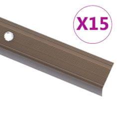 shumee Obrobe za stopnice L-oblike 15 kosov aluminij 134 cm rjave