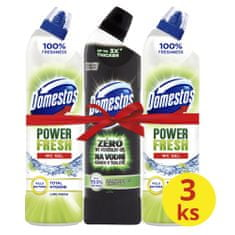Domestos Total Hygiene Lime Fresh WC gél 2x 700 ml+ Ocean Fresh 750 ml
