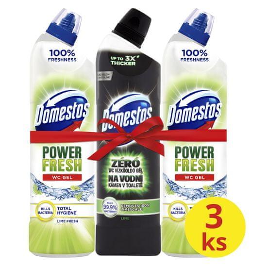 Domestos set 3 čistil za wc Total Hygiene Lime Fresh + Ocean Fresh