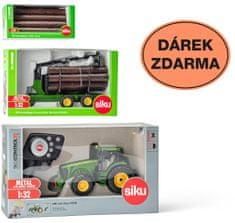 SIKU Control Omejena izdaja Traktor John Deere + 3155 prikolica + 7049 debla 1:32