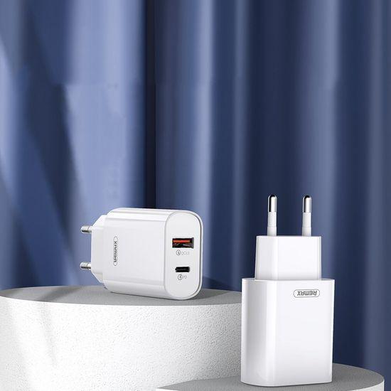 REMAX Fast Charger polnilnik USB / USB-C QC 3.0 18W, bela