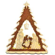 AMADEA Dřevěný svítící portál ve tvaru stromu s betlémem, dýhový, 44x37x9,5 cm