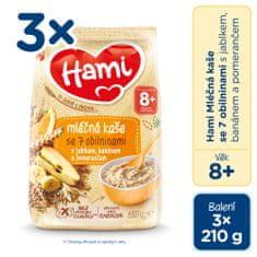 Hami mléčná kaše se 7 obilninami s jablkem, banánem a pomerančem 3x 210g, 8+