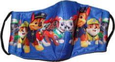 Chlapecká modrá textilní rouška s tlapkovou patrolou.