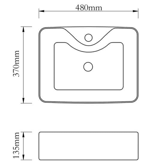 Greatstore Umývadlo s otvorom na batériu 48x37x13,5 cm keramika strieborné