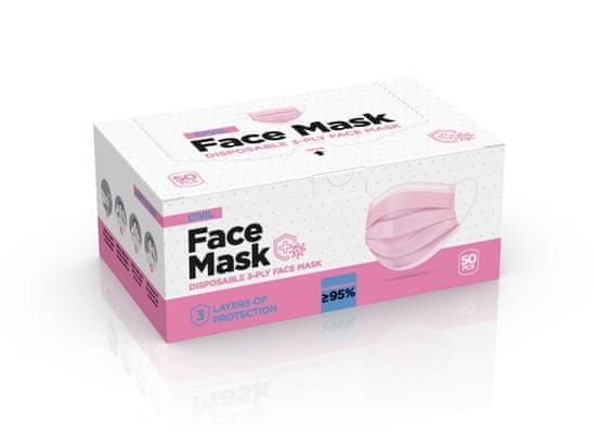 maska za usta in nos, 3-slojna, za enkratno uporabo, z žico, roza, 50 kos