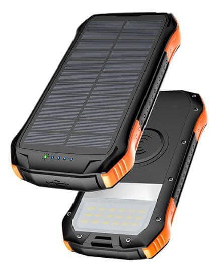 Viking Solární outdoorová power banka S10W, 10 000 mAh, bezdrátové nabíjení VS10WO, černo-oranžová