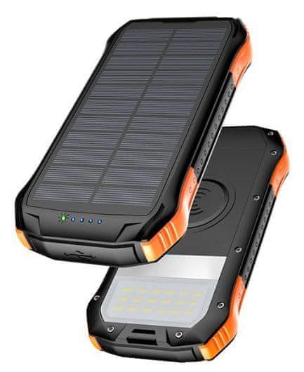 Viking Solární outdoorová power banka S12W, 12 000 mAh, bezdrátové nabíjení VS12WO, černo-oranžová - rozbaleno