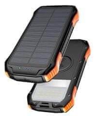 Viking Solární outdoorová power banka S12W, 12 000 mAh, bezdrátové nabíjení VS12WO, černo-oranžová