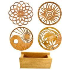 AMADEA Sada pro stolování - stojánek na podtácky a čtyři různé podtácky z masivního dřeva