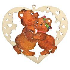 AMADEA Dřevěná ozdoba barevná srdce s medvídky 15 cm