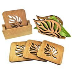 AMADEA Sada pro stolování - stojánek na podtácky, čtyři stejné podtácky a stojánek na ubrousky stejný motiv